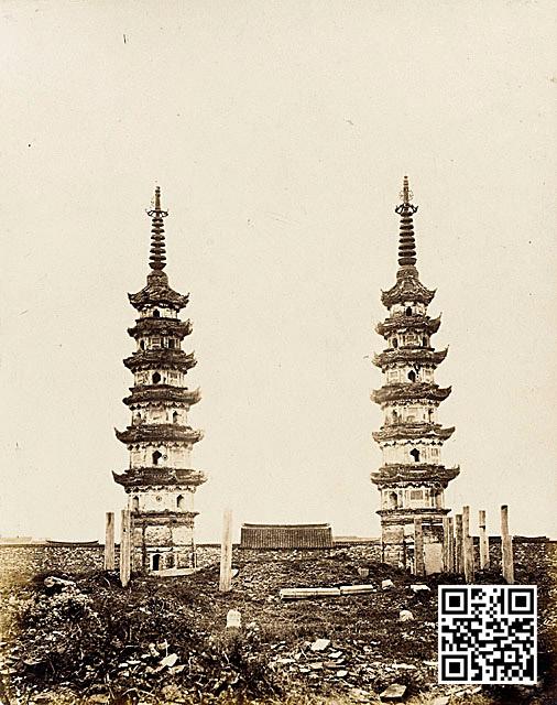 1860年代的双塔,自北向南看