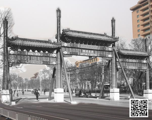 古今叠加的东长安街牌楼及周边