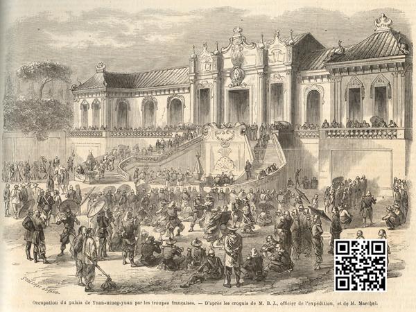 圆明园海晏堂前庆祝胜利的法军